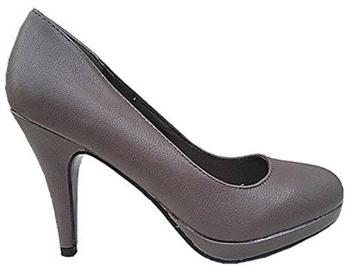 Haut a Escarpin Aiguille Plateforme Talon Simili Femme FY8012 Chaussure Taupe fashionfolie Cuir 4Itqq