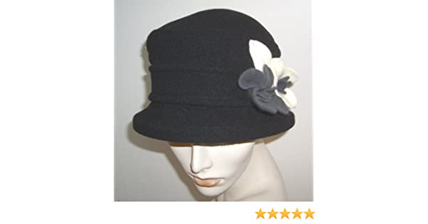 356474c9d08fb Parkhurst Wool Gardenia Hat (Black Ivory Grey) at Amazon Women s Clothing  store  Bucket Hats