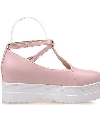 GGX/ Zapatos de mujer-Tacón Bajo-Confort / Punta Redonda-Tacones-Oficina y Trabajo / Casual-PU-Azul / Rosa / Beige , pink-us10.5 / eu42 / uk8.5 / cn43 , pink-us10.5 / eu42 / uk8.5 / cn43 beige-us7.5 / eu38 / uk5.5 / cn38