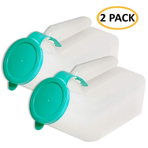 [Pack of 2] Portable Male Urinal Bed Bottle/Spill-Proof Urine Collection Container for Adults/Large Plastic Pee Holder for Hospital, Incontinence, Elderly, Travel, Camping and Emergency