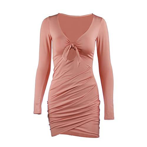 Women's Dress Sleeve Tileewon Bodycon Sexy Pink Long Bandage AxdSqdH