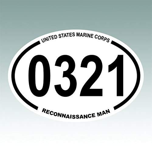 RDW United States Marine Corps MOS 0321 Infantry Reconnaissance Man Oval Sticker Premium Decal Die Cut USMC Semper fi