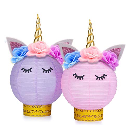Grabo Unicorn Party Supplies and Decorations - Unicorn Table Centerpieces Paper Lanterns DIY for Unicorn Themed Baby Shower, Birthday Party Supplies - Set of 2(Pink, Purple)]()