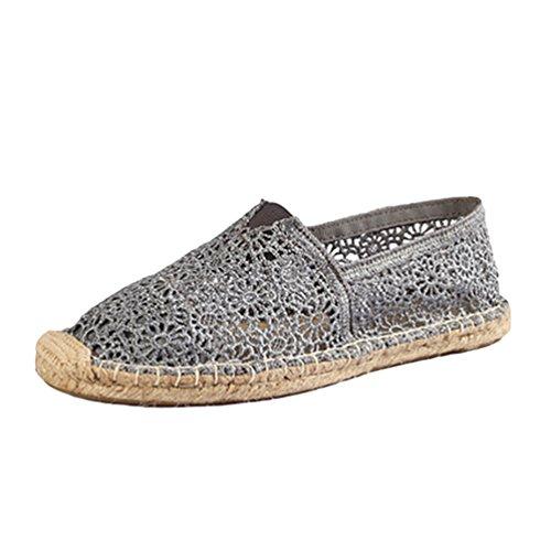 on Slip Moda Basse Scarpe Loafers Casuale Durevole Flats Pizzo Espadrillas Scarpe Dooxii grigio Donna S0qAwF