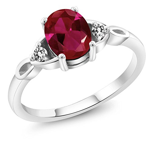 1.22 Ct Oval Red Created Ruby White Diamond 925 Sterling Silver Three Stone - Radiant Diamond 1.22 Ct