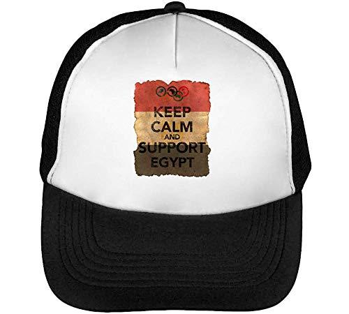 Vintage Keep Calm Support Egypt Gorras Hombre Snapback Beisbol Negro Blanco