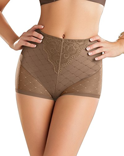 Leonisa Women's Vintage Interlace Control Short Panty, Brown, S