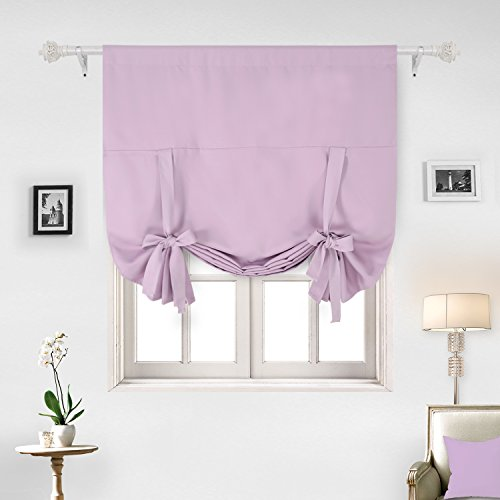 Deconovo Solid Color Rod Pocket Curtain Tie Up Curtains Small Window Curtains for Kids Room Pink Lavender 46W x 63L One (Lilac Kitchen)