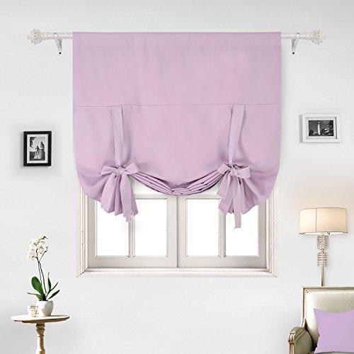 Deconovo Solid Color Rod Pocket Curtain Tie Up Curtains Smal