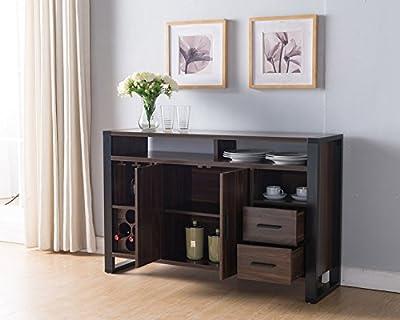 161640 Smart Home Dark Walnut & Black Wine Rack Sideboard Buffet Table