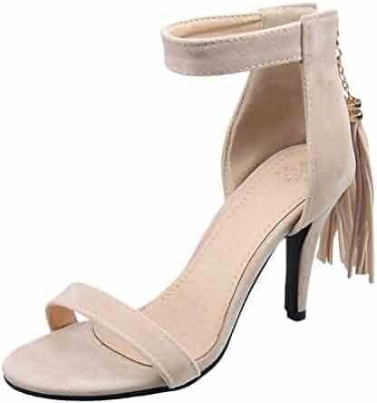 45bc11eab4b6 Show Shine Women s Pendants Ankle Straps High Heel Back Zip Sandals