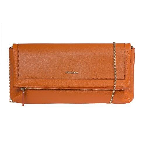 Calf cuir Trussardi 34x16x6 sac avec Saffiano Clutch véritable cm 100 métallique sangle d'épaule femmes Petit à en main Orange PqwgPZR
