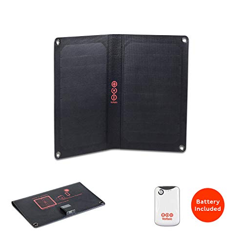 Voltaic Systems Arc 10 Watt Rapid Solar Panel Charger | Includes a Battery Pack (Power Bank) and 2 Year Warranty | Powers Phones Compatible with iPhone, Tablets, USB Devices and More