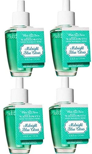 Bath and Body Works 4 Pack Midnight Blue Citrus Wallflowers Fragrance Refill. 0.8 Oz