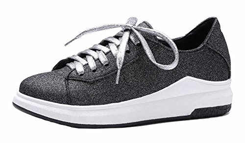 SHOWHOW Womens Comfy Solid Round Toe Lace Up Low Top Mid Heel Walking Fashion Sneakers Black