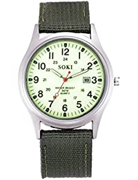 Military Army Men's Date Canvas Band Stainless Steel Sport Quartz Wrist Watch (White)