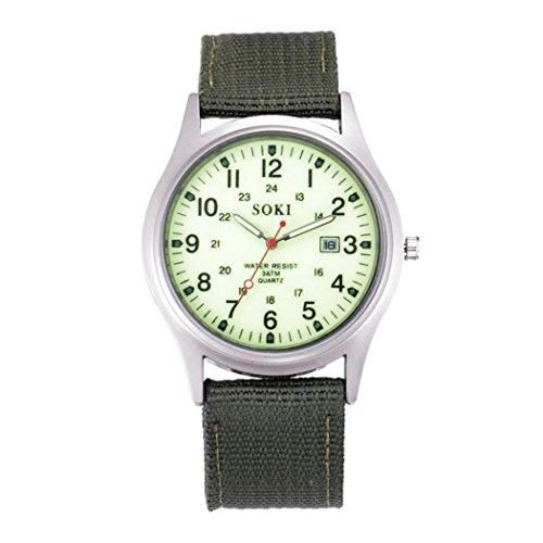 Best deals IEason,Military Army Men' Date Canvas Band Stainless Steel Sport Quartz Wrist Watch (White)