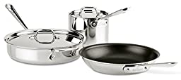All-Clad 400105 NS R2-R Stainless Steel Tri-Ply Bonded Dishwasher Safe PFOA-free Non-Stick Fry 5-Piece Cookware Set, 10-Inch, Silver