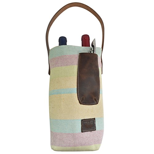 Artisan Canvas Double Wine Holder Bag with Leather Handle Handmade by Hide & Drink :: Pistachio Cream