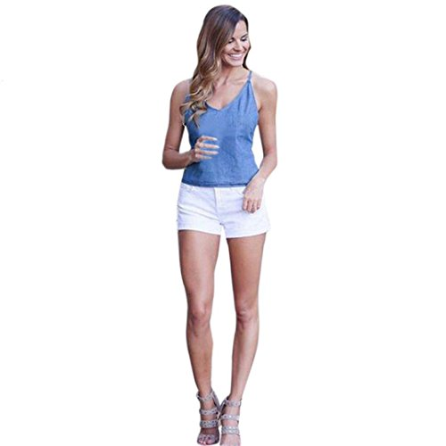 Vovotrade® Frauen-Sommer-Sleeveless Denim-Trägershirts Camis V Ansatz-beiläufige Bluse