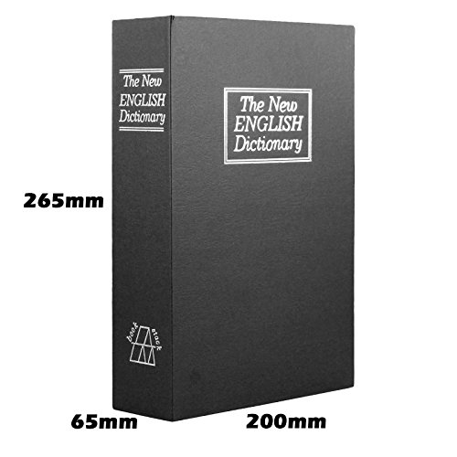 Champs Dictionary Diversion Book Safe with Key Lock for Home, Business [Black, Metal, Large Size, 10.4in x 2.55in x 7.87in]
