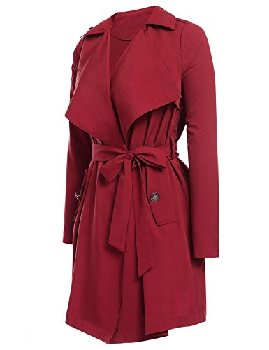 Aimado Lapel Open Front Lightweigt Women Plus Size Long Slim Trench Coat (Wine Red, (Long Red Trench Coat)