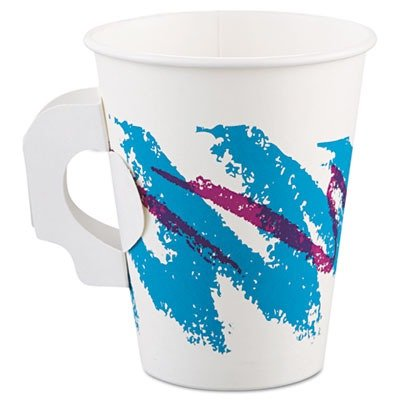 Jazz Hot Paper Cups with Handles, 8 oz., Polycoated, Jazz Design, 50/Bag