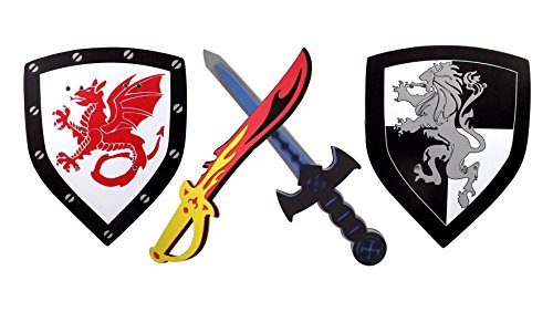 Foam Sword and Shield 2 Pack Ninja Warrior Weapons Toy Set for Kids + Red Fire Sword Dragon Shield Vs Blue Ice Sword Lion Shield