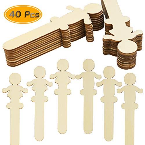 UPlama 40 PCS People Craft Sticks Wooden People Shaped