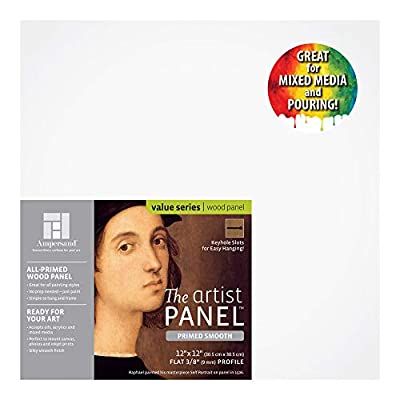Ampersand Artist Panel Primed Smooth Surface for Painting, Pouring and Mixed-Media, 3/8 Inch Depth, 12x12 Inch (PWP9M1212)