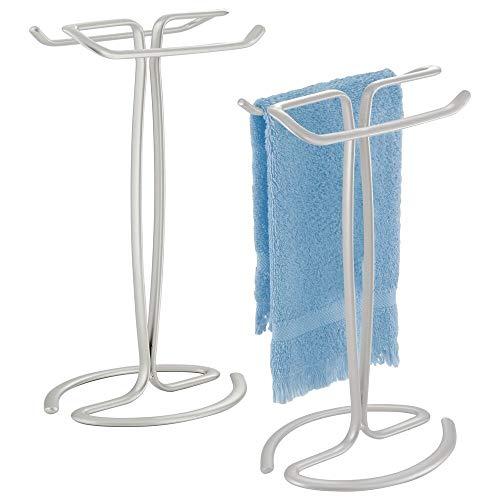 mDesign Decorative Metal Fingertip Towel Holder Stand for Bathroom Vanity Countertops to -