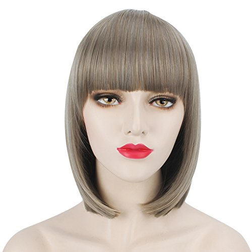 Comb Wigs Halloween (WELLKAGE 14 inches Halloween Short Straight Bob Hair Wigs Gray and Chestnut)