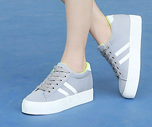 Aisun Kvinna Mode Mjuk Plattform Tygskor Gymnastik Grå