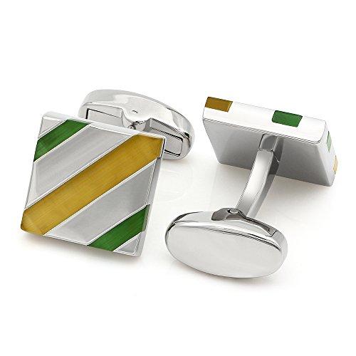 Kemstone Square Silver Plated Opal Stripe Cufflinks