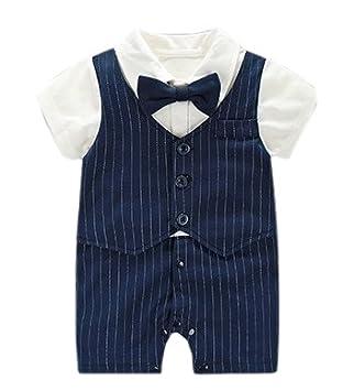 81b520a4b0cc4 子供服 フォーマル ロンパース 男の子 蝶ネクタイ 半袖 (ネイビー