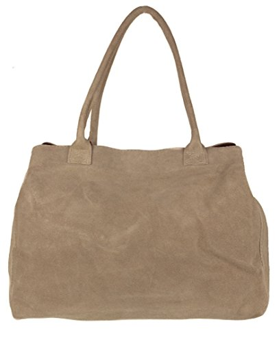 Leather HandBags Girly Suede Bag Expandable Italian Khaki Shoulder wTqIdxRSqn