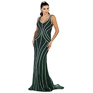 0aab6abdac43c May Queen RQ7511 Sleeveless Embellished Mesh Evening Gown in Hunter-Green