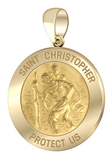 Men's 14k Yellow Gold St Christopher Round Polished 1'' Hollow Pendant by US Jewels And Gems