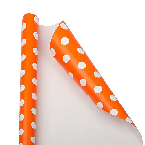 JAM PAPER Gift Wrap - Polka Dot Wrapping Paper - 25 Sq Ft - Orange with White Dots - Roll Sold -
