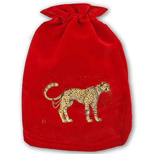 Cheetah Christmas Gift Bags with Drawstring Santa Sack Bags for Christmas Presents,Decorations