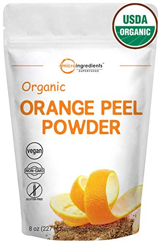 Organic Orange Peel Powder, 8 Ounce, Rich in Antioxidants & Vitamin C, Best Natural Flavor for Smoothie and Drinks, Non-GMO and Vegan Friendly