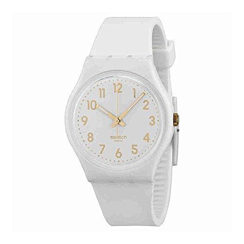 Swatch White Bishop White and Gold Dial Plastic Silicone Quartz Ladies Watch GW164