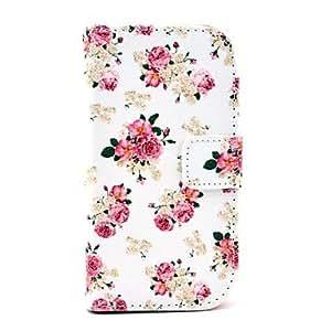 GX Funda de cuero flor de Rose de la PU del patrón con ranura para tarjetas y soporte para Samsung Galaxy S3 I8190 mini-