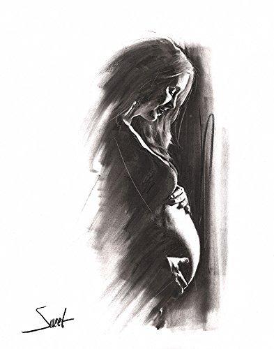 Charcoal Figure Drawing, Nude Art, Naked Woman Art, Erotic Art, Erotic, Nude Model, Pregnancy Gift, Pregnancy Art, Pregnant Woman by SignedSweet