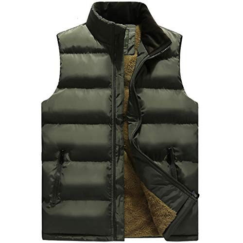 Flygo Men's Winter Warm Outdoor Padded Puffer Vest Thick Fleece Lined Sleeveless Jacket (Style 03 Army Green, Medium)