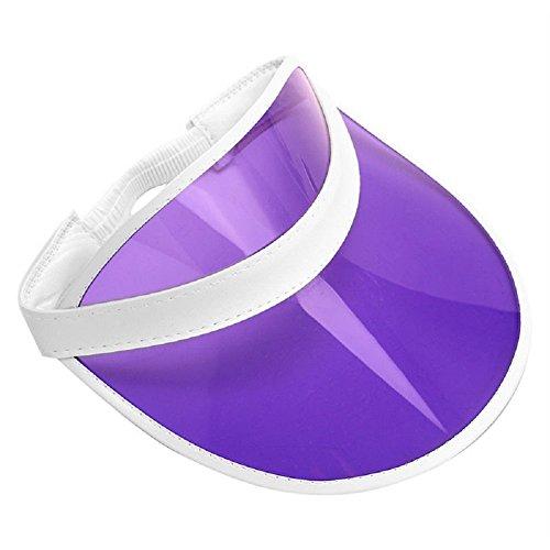 Retro Beach Colored Plastic Clear Sun Visor Hat, Purple, One -