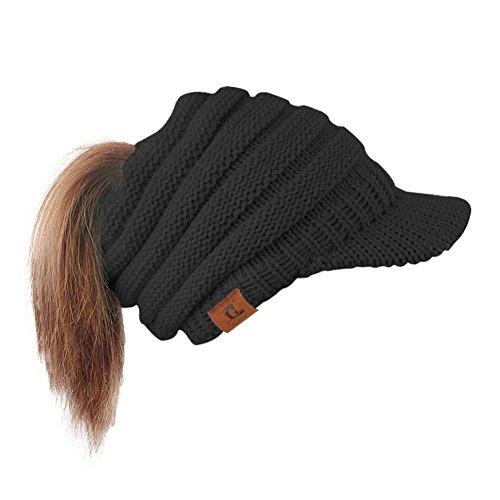 Tpingfe Women Hat Baggy Warm Crochet Winter Wool Knit Ski Beanie Skull Slouchy Caps (Black) -