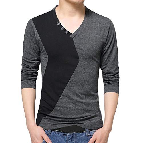 Mens Shirt Fitfulvan Standing Collar Long Sleeve T-Shirt Pure Blouse -