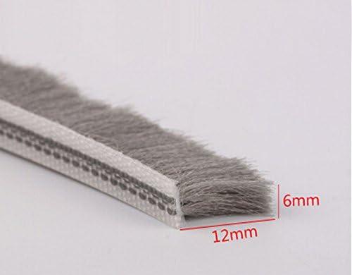 6 mm x 12 mm puerta corredera de aluminio ventana cepillo sello a prueba de tira burlete de weatherstripping: Amazon.es: Bricolaje y herramientas