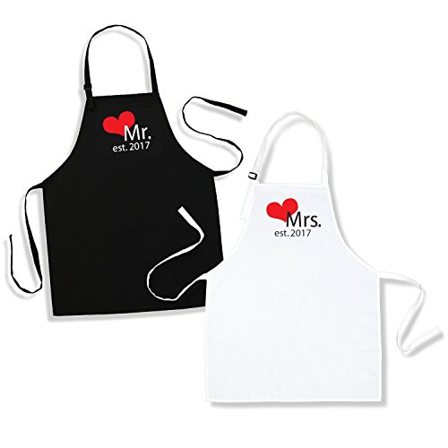 Mr. And Mrs. Aprons Est. 2017 with Heart Wedding Gift for Couples